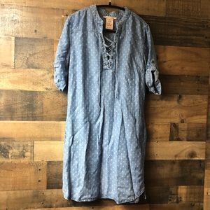 Philosophy Denim & White Lace Up Mini Dress